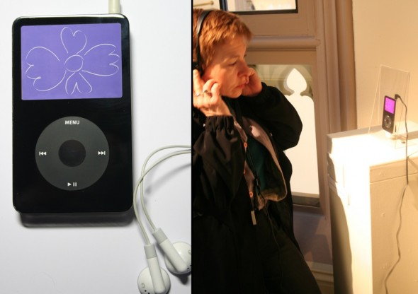 Incantation and Intonation/ iHeal Meditation Station, L. Vandegrift Davala, 2007. Video iPod® custom engraved with blessings, seven monotypes in oil, digitally transferred to the device and accompanied by spoken blessings in five languages.